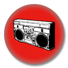 Ghettoblaster rot - 80er Jahre Button Badge