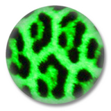 Animal Print Button Badge grünes Leopard print