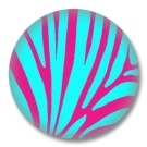 Animal Print Button Badge - Pinkes/Türkises Zebrafell