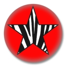 Animal Print Button Badge Stern mit Zebrafellmuster Rot
