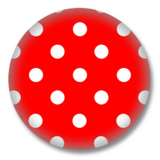 50s Style Polka Dots Button - Weiss Rot