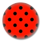 50s Style Polka Dots Button - Schwarz Rot