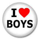 I Love Boys Button Badge / Ansteckbutton