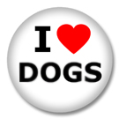 I Love Dogs Button Badge / Ansteckbutton