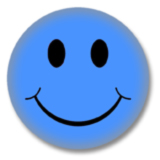 Blauer Smilie Button