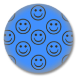 Blauer Smilies Button
