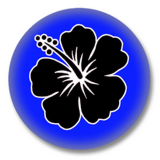 Hibiskus Button Badge / Ansteckbutton - Blau