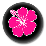 Pinker Hibiskus Button Badge / Ansteckbutton