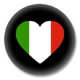 Italien Button - Flagge als Herz