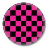 Pink Schwarz karierter Button Badge / Ansteckbutton