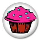 Pink Muffin Button Badge / Kitsch Kawaii Ansteckbutton