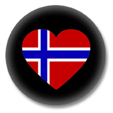 Norwegen Button - Flagge als Herz