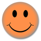 Orangener Smilie Button