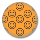Orangener Smilies Button