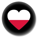 Polen Button - Flagge als Herz