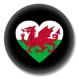 Wales Button - Flagge als Herz